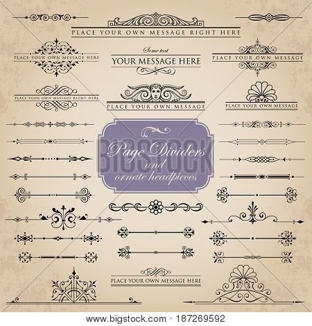 Page dividers and ornate headpieces - vector set