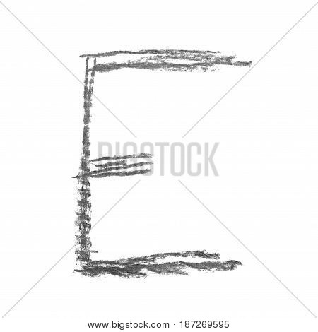 Single hand drawn with the chalk E letter isolated over the white background