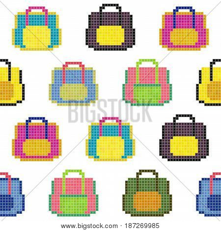 Colorful bags. Seamless pattern. Pixel art background. Hipster handbags, women purses, casual bags. Various travel accessories.