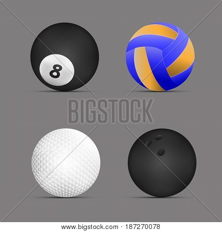 Volleyball ball, billiards ball, golf ball, bowling ball with gray background.set of sports balls. vector. illustration. graphic design.