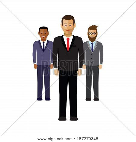 a set of three business men in a line
