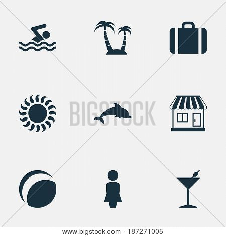 Vector Illustration Set Of Simple Beach Icons. Elements Mammal Fish, Woman, Palm And Other Synonyms Luggage, Swimming And Beach.