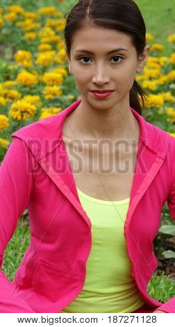 Fitness Hispanic Female Teen Wearing Pink and Yellow