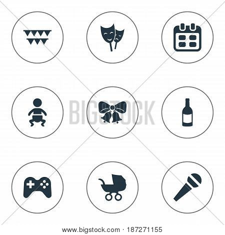 Vector Illustration Set Of Simple Birthday Icons. Elements Days, Infant, Game And Other Synonyms Microphone, Baby And Carriage.