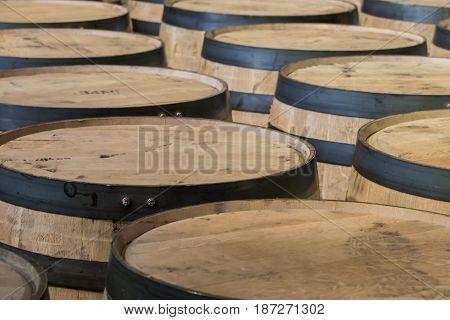 Bourbon Barrel Tops In A Row