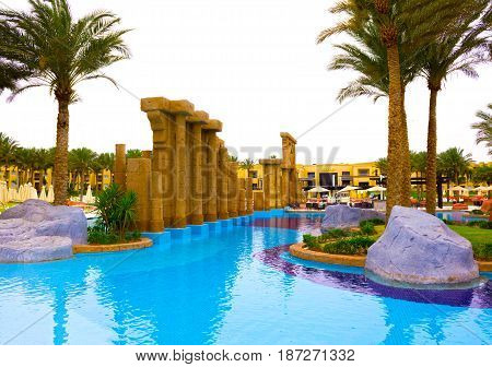 Sharm El Sheikh, Egypt - April 13, 2017: The luxury five star hotel RIXOS SEAGATE SHARM at Sharm El Sheikh, Egypt on April 13, 2017