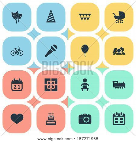 Vector Illustration Set Of Simple Birthday Icons. Elements Days, Confectionery, Baby Carriage And Other Synonyms Family, Steam And Sport.