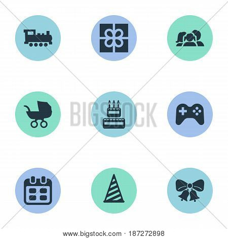 Vector Illustration Set Of Simple Celebration Icons. Elements Box, Game, Train And Other Synonyms Cake, Schedule And Sweetmeat.