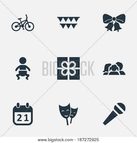 Vector Illustration Set Of Simple Holiday Icons. Elements Resonate, Speech, Infant And Other Synonyms Family, Flags And Baby.