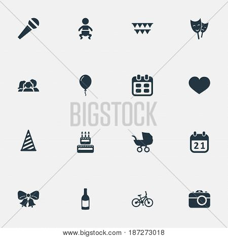 Vector Illustration Set Of Simple Holiday Icons. Elements Confectionery, Beverage, Bicycle And Other Synonyms Speech, Fizz And Calendar.