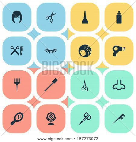 Vector Illustration Set Of Simple Cosmetics Icons. Elements Crest, Smell, Glass And Other Synonyms Handle, Glass And Shears.