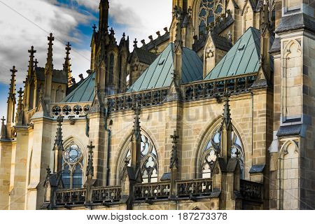 Facade of New Dome (Mariendom) in Linz Upper Austria gothic cathedral close up of architectural details dramatic moody atmosphere blue sky