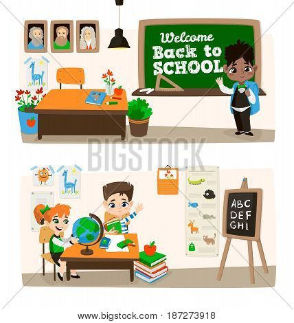 Back to school set. Pupils read the textbook, do homework in classroom. Vector illustration Isolated on white background.