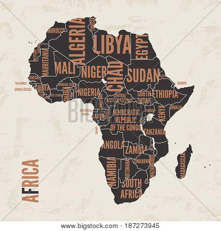 Africa vintage detailed map print poster design. Vector illustration.