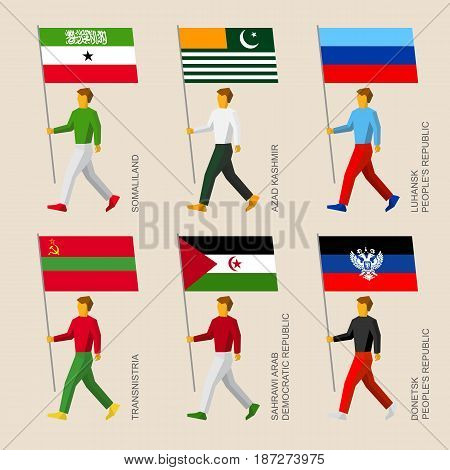 Set of simple flat people with flags of disputed territories and partially recognized states. Standard bearers -  Somaliland, Lugansk and Donetsk Republic, Western Sahara, Transnistria, Azad Kashmir