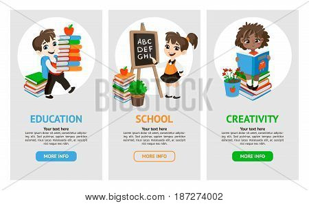 Back to school set . Pupils read the textbook, do homework in classroom. Vector template banners with students and objects.