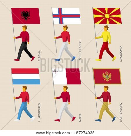 Set of simple flat people with flags of countries in Central Europe. Standard bearers infographic - Albania, Faroe Islands, Macedonia, Luxembourg, Malta, Montenegro