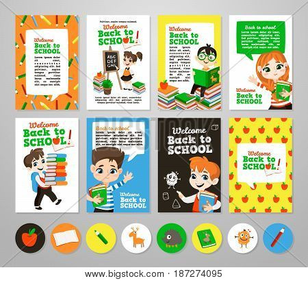 Back to school set . Pupils read the textbook, do homework in classroom. Printable vector cards, notes and stickers for your design.