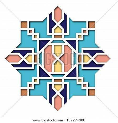 Arabesque design, vignette in eastern style, orient colorful stained-glass. Pattern for Eid Mubarak, decorative islamic tile of mosque 3d.