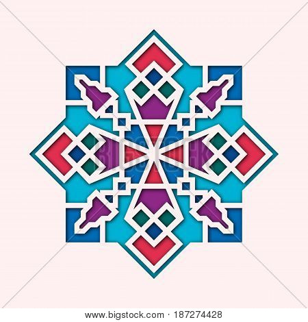 Arabesque, arabic vignette, orient colorful stained-glass. Design for Eid Mubarak, Ramadan, decorative islamic tile of mosque 3d.