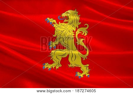 Flag of Valenciennes is a commune in the Nord department in northern France. 3d illustration
