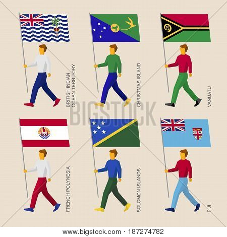 Set of simple flat people with flags of countries in Oceania. Standard bearers infographic - Vanuatu, Fiji, French Polynesia, Solomon Islands, Christmas Island, British Indian Ocean Territory