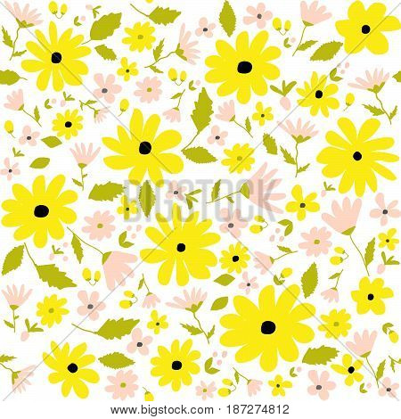 Seamless floral botanical pattern yellow allover daisies pink flowers green leaves summer spring female fabric print tapestry quilting scrapbooking hand drawn