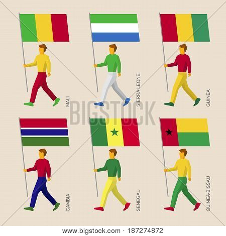 Set of simple flat people with flags of African countries. Standard bearers infographic - Benin, Liberia, Ghana, Cote d'Ivoire (Ivory Coast), Togo, Burkina Faso.