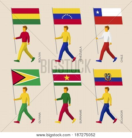 Set of simple flat people with flags of American countries. Standard bearers infographic - Bolivia, Venezuela, Chile, Guyana, Suriname, Ecuador