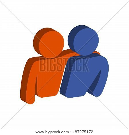 Friends, Friendship Symbol. Flat Isometric Icon Or Logo. 3D Style Pictogram For Web Design, Ui, Mobi