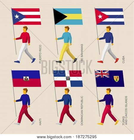 Set of simple flat people with flags of Caribbean countries. Standard bearers infographic - Cuba, Dominican Republic, Haiti, Bahamas, Puerto Rico, Turks and Caicos Islands