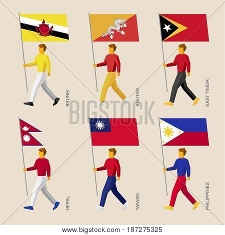 Set of simple flat people with flags of Asian countries. Standard bearers infographic - Butan, Brunei, East Timor, Nepal, Taiwan, Philippines