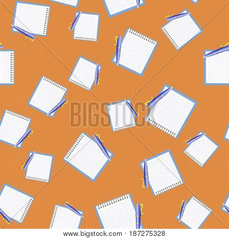Paper Notebook and Blue Pen Seamless Pattern on Orange Background