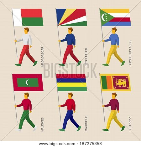 Set of simple flat people with flags of countries in Indian ocean. Standard bearers infographic - Madagascar, Seychelles, Comoro Islands, Maldives, Mauritius, Sri Lanka