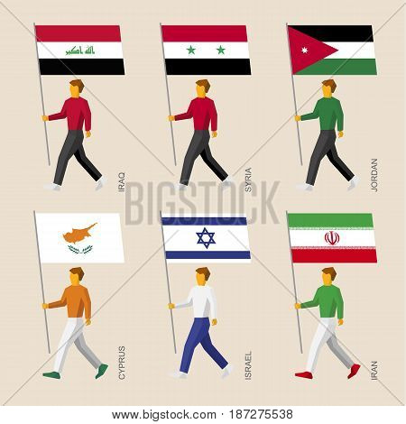 Set of simple flat people with flags of Asian countries. Standard bearers infographic - Iraq, Iran, Jordan, Syria, Cyprus, Israel