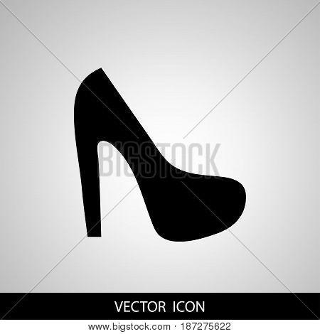 Women sign. Women's shoe icon. High heels shoe symbol. Vector
