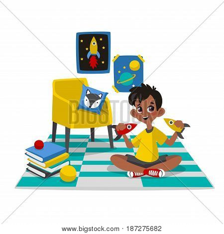 Boy playing with toys at childrens room. Vector illustration of child. Character in cartoon flat style.