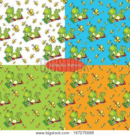 Set of seamless patterns with with a green frog lies on the colored beach towel