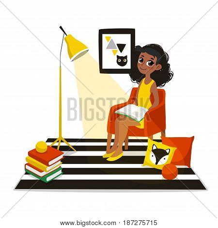 Girl reading book at childrens room. Vector illustration of child. Character in cartoon flat style.