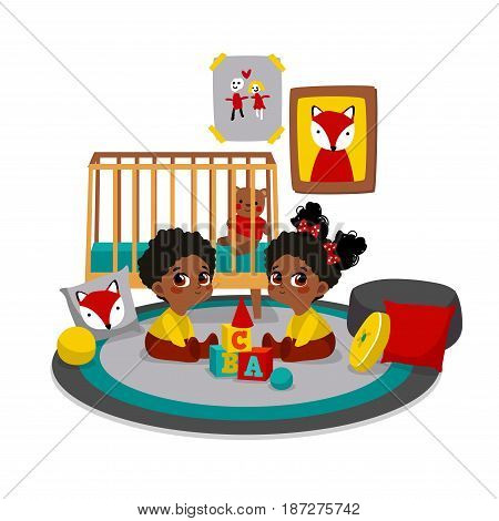 Twins playing with toys at childrens room. Vector illustration of child. Characters in cartoon flat style.
