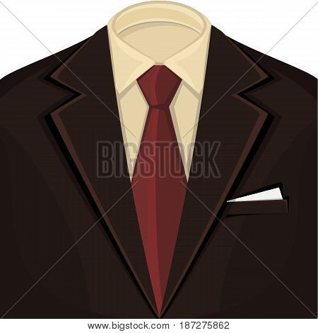 Black men's suit white shirt and red tie. Vector illustration