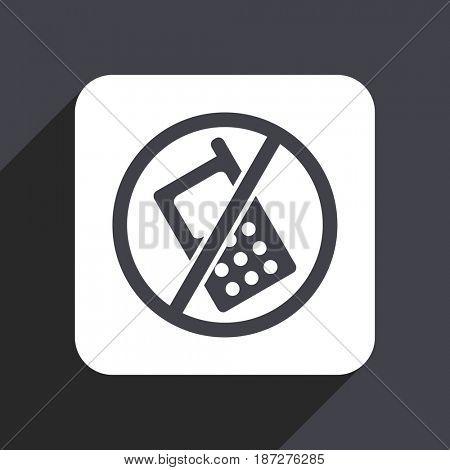 No phone flat design web icon isolated on gray background