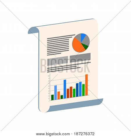 Infographic On Paper Sheet Symbol. Flat Isometric Icon Or Logo. 3D Style Pictogram For Web Design, U