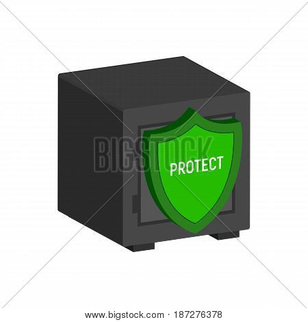 Metal Safe With Shield, Financial Protection Symbol. Flat Isometric Icon Or Logo. 3D Style Pictogram