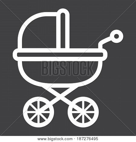 Baby bib line icon, pram and pushchair, vector graphics, a linear pattern on a black background, eps 10.