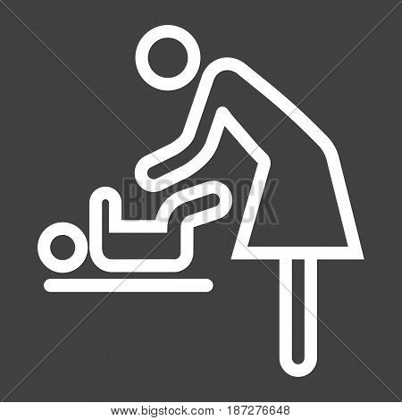 Mother swaddle baby line icon, care and motherhood, vector graphics, a linear pattern on a black background, eps 10.