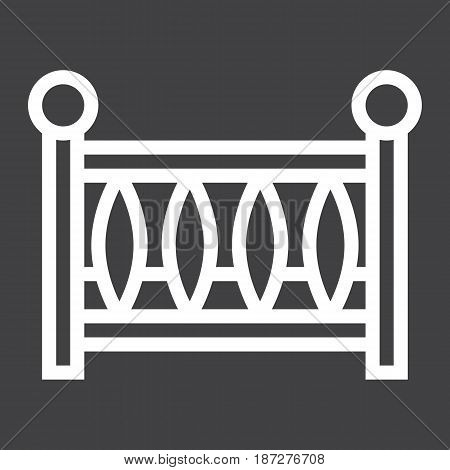 Baby crib line icon, baby cot and bed, vector graphics, a linear pattern on a black background, eps 10.