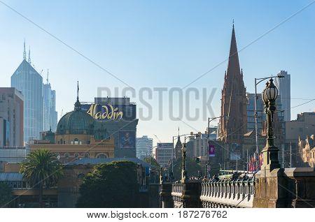 Melbourne Australia - April 18 2017: Flinders station and St Pauls Cathedral in Melbourne CBD