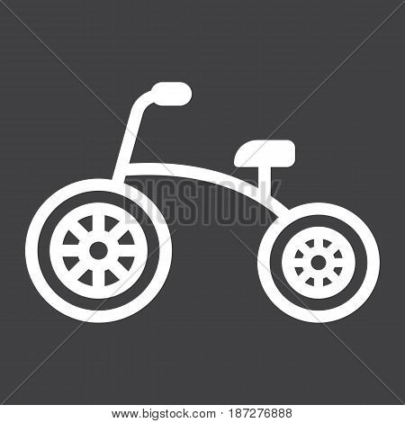 Tricycle line icon, bike and toy, vector graphics, a linear pattern on a black background, eps 10.