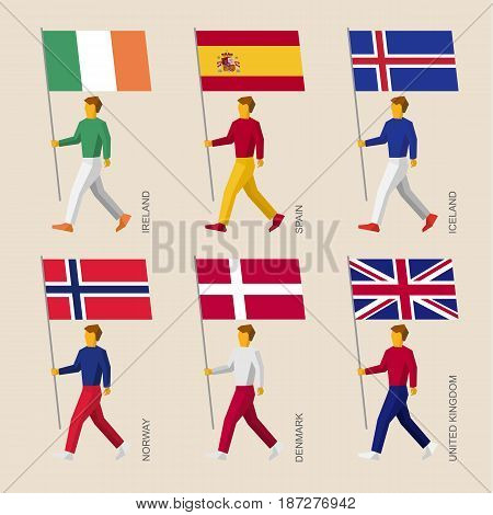 Set of simple flat people with flags of European countries. Standard bearers infographic - Denmark, UK (United Kingdom), Spain, Norway, Ireland, Iceland.